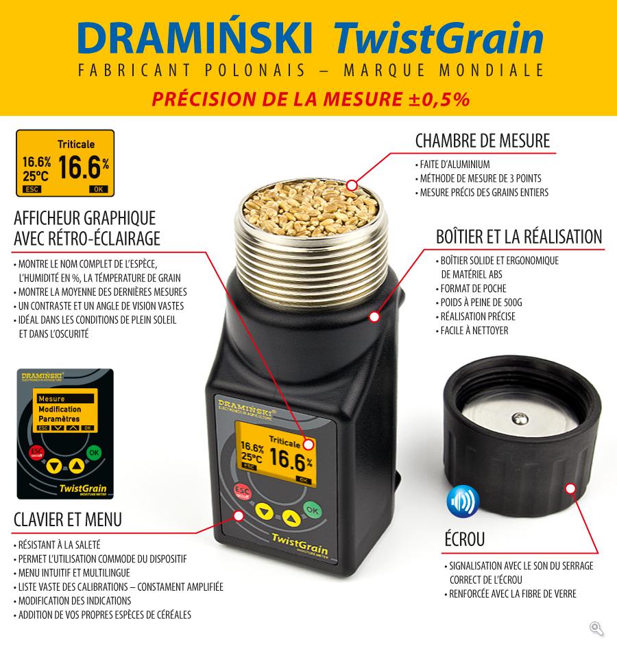l'humidimètre DRAMINSKI TwistGrain assure une mesure précise et rapide de l'humidité des grains avec une vaste liste de calibration